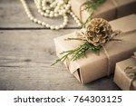 christmas composition.... | Shutterstock . vector #764303125