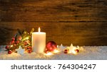 christmas or advent candle with ... | Shutterstock . vector #764304247