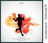 silhouette of marathon runner | Shutterstock .eps vector #764310679