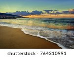 beach sunset of the sea with...   Shutterstock . vector #764310991
