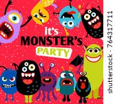 it's a party monster banner... | Shutterstock .eps vector #764317711