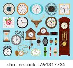 clocks collection. analog old... | Shutterstock .eps vector #764317735