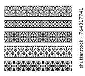 ethnic pattern stripes. black... | Shutterstock .eps vector #764317741