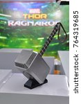 Small photo of Bangkok, Thailand - November 11, 2017: Thor Hammer Model Displays At The Theater To Promote the Movie Thor: Ragnarok