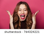 image of excited screaming...   Shutterstock . vector #764324221