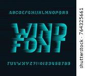 wind alphabet vector font.... | Shutterstock .eps vector #764325661