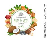 banner template with nuts and... | Shutterstock .eps vector #764329279