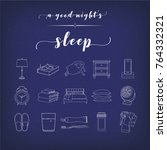 set of 16 nighttime routine and ... | Shutterstock .eps vector #764332321
