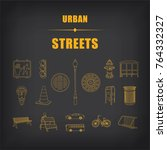 set of 17 urban street icons... | Shutterstock .eps vector #764332327