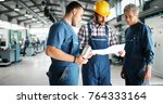 supplier with engineer checking ... | Shutterstock . vector #764333164