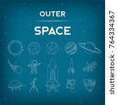 set of 14 outer space ... | Shutterstock .eps vector #764334367