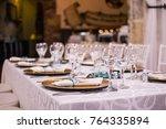 wedding table perspective. | Shutterstock . vector #764335894