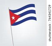 cuba flag waving isolated... | Shutterstock .eps vector #764341729