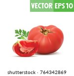 a whole tomato and a piece... | Shutterstock .eps vector #764342869