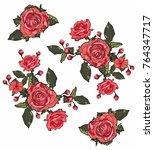 Stock vector rose flower red green vector 764347717