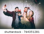 group of friends at party... | Shutterstock . vector #764351281
