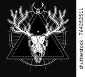 mystical image of the skull of... | Shutterstock .eps vector #764352511