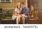 romantic date of beautiful... | Shutterstock . vector #764355751