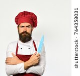 cook with serious face in... | Shutterstock . vector #764358031