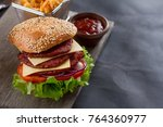 fresh burger with cheese and...   Shutterstock . vector #764360977