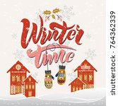 winter typography design on the ... | Shutterstock .eps vector #764362339