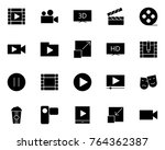 video silhouette icons set. ... | Shutterstock . vector #764362387