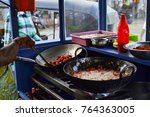 street food stall with pans of... | Shutterstock . vector #764363005
