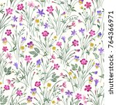 seamless floral patchwork... | Shutterstock .eps vector #764366971
