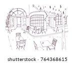 monochrome rough sketch of... | Shutterstock .eps vector #764368615