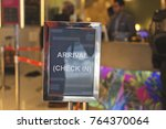a check in sign post to notify... | Shutterstock . vector #764370064