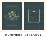 christmas greeting card design... | Shutterstock .eps vector #764373931