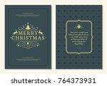 christmas greeting card design... | Shutterstock .eps vector #764373931