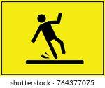 caution wet floor sign symbol... | Shutterstock .eps vector #764377075