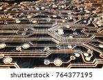 3d rendering. golden circuit... | Shutterstock . vector #764377195