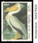 Small photo of Cote d'Ivoire - stamp printed in1985, Series Audubon birds bicentenary, Air Mail issue, Birds, American White Pelican