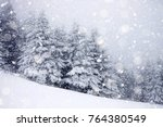 snow covered fir trees in heavy ... | Shutterstock . vector #764380549