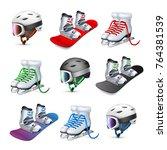 snowboard skates and ski helmet ... | Shutterstock .eps vector #764381539
