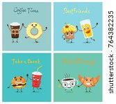 vector cards with cartoon funny ... | Shutterstock .eps vector #764382235