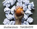 hand of a woman squeezing a... | Shutterstock . vector #764384599