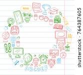 language school kids  chidlren  ... | Shutterstock .eps vector #764387605