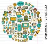 language school kids  chidlren  ... | Shutterstock .eps vector #764387665