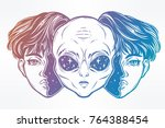 portriat of the extraordinary... | Shutterstock .eps vector #764388454