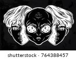 portriat of the extraordinary... | Shutterstock .eps vector #764388457