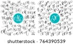 set letter m  n. hand drawn... | Shutterstock .eps vector #764390539
