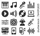 music icons set on white... | Shutterstock .eps vector #764391835