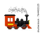 pixel christmas toy train for... | Shutterstock .eps vector #764402125