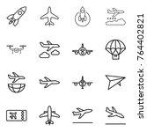 thin line icon set   rocket ... | Shutterstock .eps vector #764402821