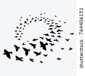 silhouette of a flock of birds. ... | Shutterstock .eps vector #764406151