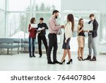 welcome handshake manager and... | Shutterstock . vector #764407804