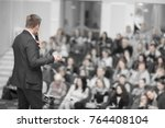 speaker conducts the business... | Shutterstock . vector #764408104